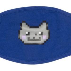 Blauw mondkapje met Nyan Cat hoofd